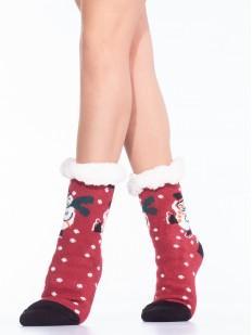 Высокие женские новогодние носки с мехом