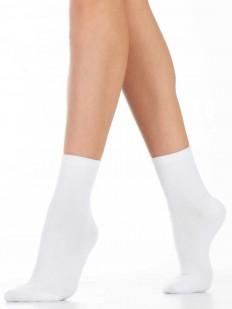 Высокие белые женские носки из хлопка однотонные