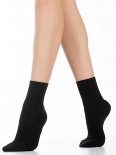 Высокие черные женские носки из хлопка однотонные