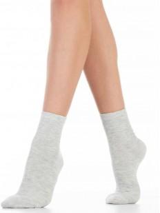 Высокие серые женские носки из хлопка однотонные