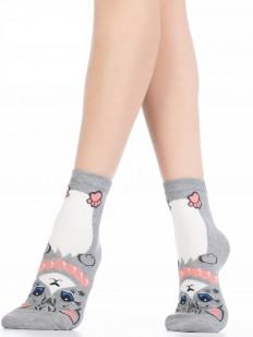 Хлопковые разноцветные женские носки с кошечками