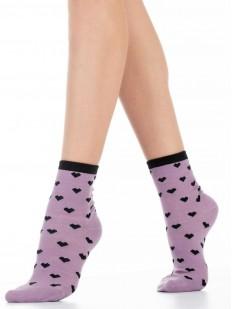 Высокие сиреневые женские носки с сердечками хлопковые
