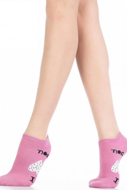 Женские хлопковые укороченные носки с сердечками HOBBY LINE 534