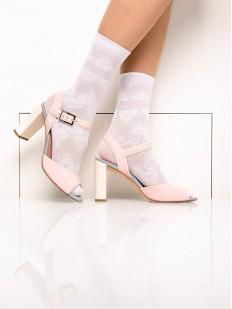 Высокие женские капроновые носки с фантазийным узором