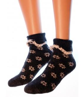 Шерстяные женские носки со снежинками и манжетами