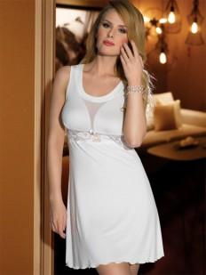 Короткая свадебная сорочка из вискозы с глубоким вырезом