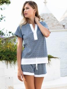 Хлопковая женская пижама с футболкой и шортами на лето