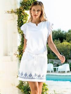 Женское домашнее летнее платье с коротким рукавом