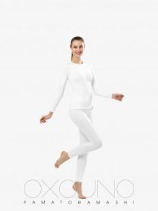 Белый женский термокомплект из кофты с длинным рукавом и леггинсов