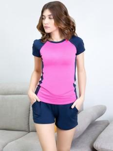 Домашний хлопковый женский комплект с шортами и футболкой