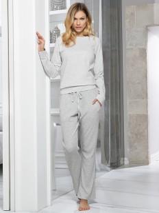 Хлопковая женская теплая пижама с брюками в полоску и свитшотом