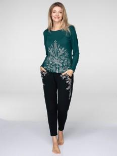 Теплый женский домашний костюм из трикотажа с брюками