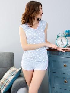 Женская летняя хлопковая пижама с шортами и майкой со звездочками Leinle Gloss