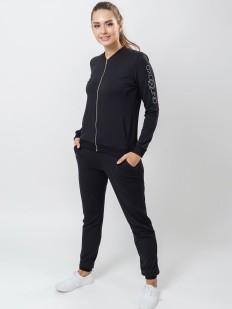 Черный спортивный женский костюм из модала и хлопка