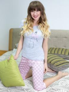 Женская хлопковая пижама со штанами в клетку