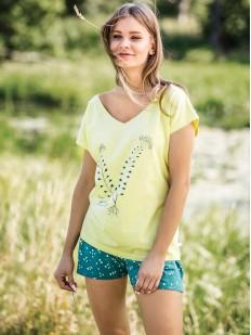 Женская хлопковая летняя пижама с бирюзовыми шортами