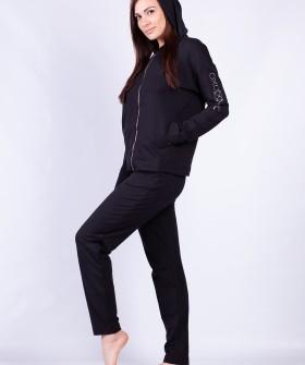 Домашний женский комплект с брюками и кофтой с капюшоном