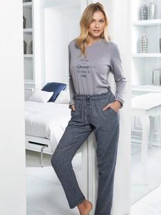Теплая хлопковая женская пижама с брюками