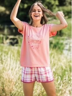 Женская летняя пижама с шортами в клетку KEY