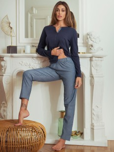 Хлопковая женская пижама с брюками и кофтой с длинным рукавом