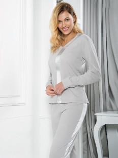 Хлопковая женская пижама теплая с брюками и атласной вставкой