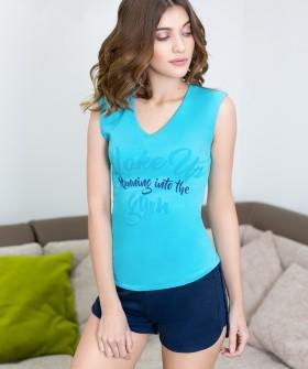Домашний хлопковый женский комплект с шортами