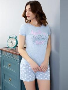 Летняя женская пижама с шортами и футболкой со звездочками