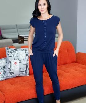 Женский домашний брючный костюм с футболкой синий