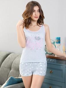 Женская летняя пижама с шортами и принтованной майкой в полоску Leinle Gloss