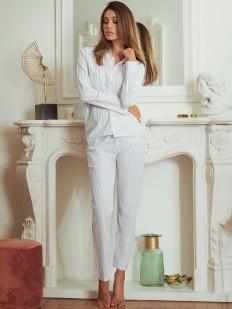 Женский домашний костюм с брюками и рубашкой в блестящую полоску