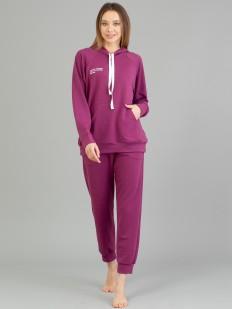 Хлопковый домашний женский комплект - худи и брюки в спортивном стиле