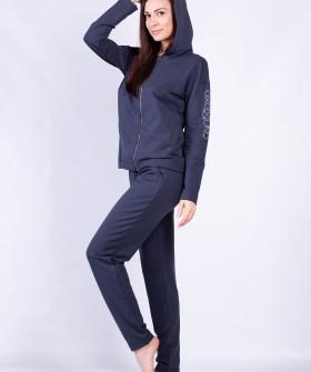 Домашний спортивный женский костюм с брюками и кофтой на молнии