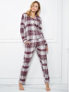 Женская фланелевая теплая пижама из хлопка в клетку с рубашкой и брюками