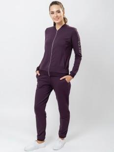 Фиолетовый спортивный женский костюм с брюками из модала и хлопка