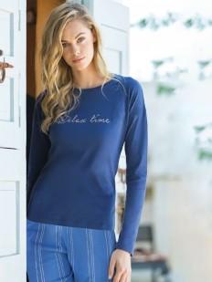 Женская хлопковая пижама с брюками в полоску и кофтой с длинным рукавом