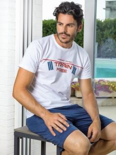 Мужская летняя хлопковая пижама с шортами и футболкой