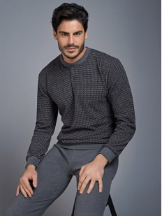 Хлопковый мужской пижамный комплект с джемпером и брюками