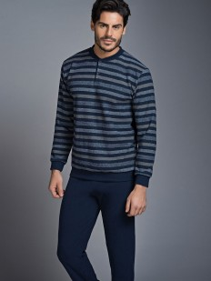 Мужская трикотажная пижама в полоску с брюками