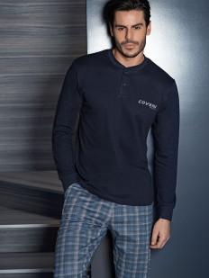 Трикотажная мужская пижама с джемпером и брюками в клетку
