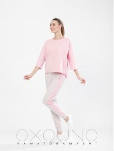 Домашний женский костюм из хлопка со штанами розовый