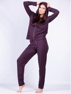 Домашний спортивный женский комплект с брюками и кофтой на молнии