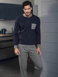 Мужская трикотажная пижама с брюками и джемпером