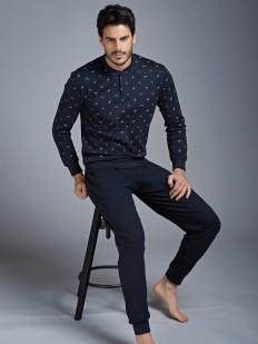 Мужская хлопковая пижама с брюками и джемпером