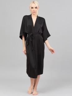 Длинный атласный женский халат с рукавами кимоно
