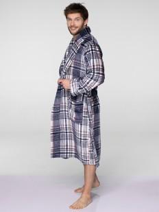 Мужской домашний флисовый халат в клетку