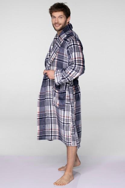 Флисовый мужской домашний халат в клетку KEY MGL 041