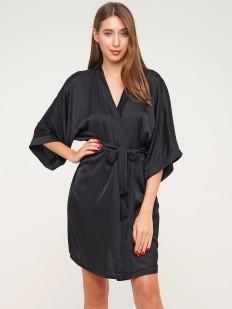 Женский летний атласный халат кимоно на запахе