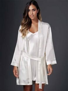 Женский атласный короткий халат кимоно