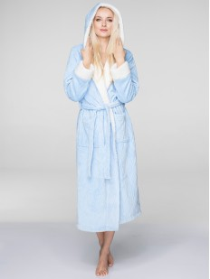 Длинный флисовый женский халат с капюшоном KEY LGL