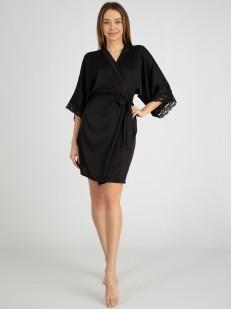 Атласный короткий женский халат на лето с кружевной отделкой рукавов